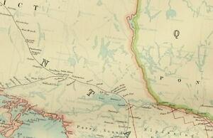 1895 ANTIQUE MAP DOMINION OF CANADA CENTRAL MONTREAL QUEBEC NIAGARA ONTARIO