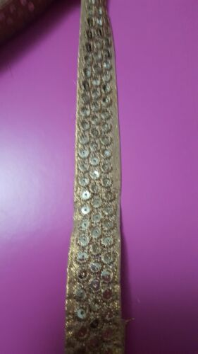1 yard Bridal Embroidery Applique Sequins Gold Braid Trim Lace Wedding 1 inches