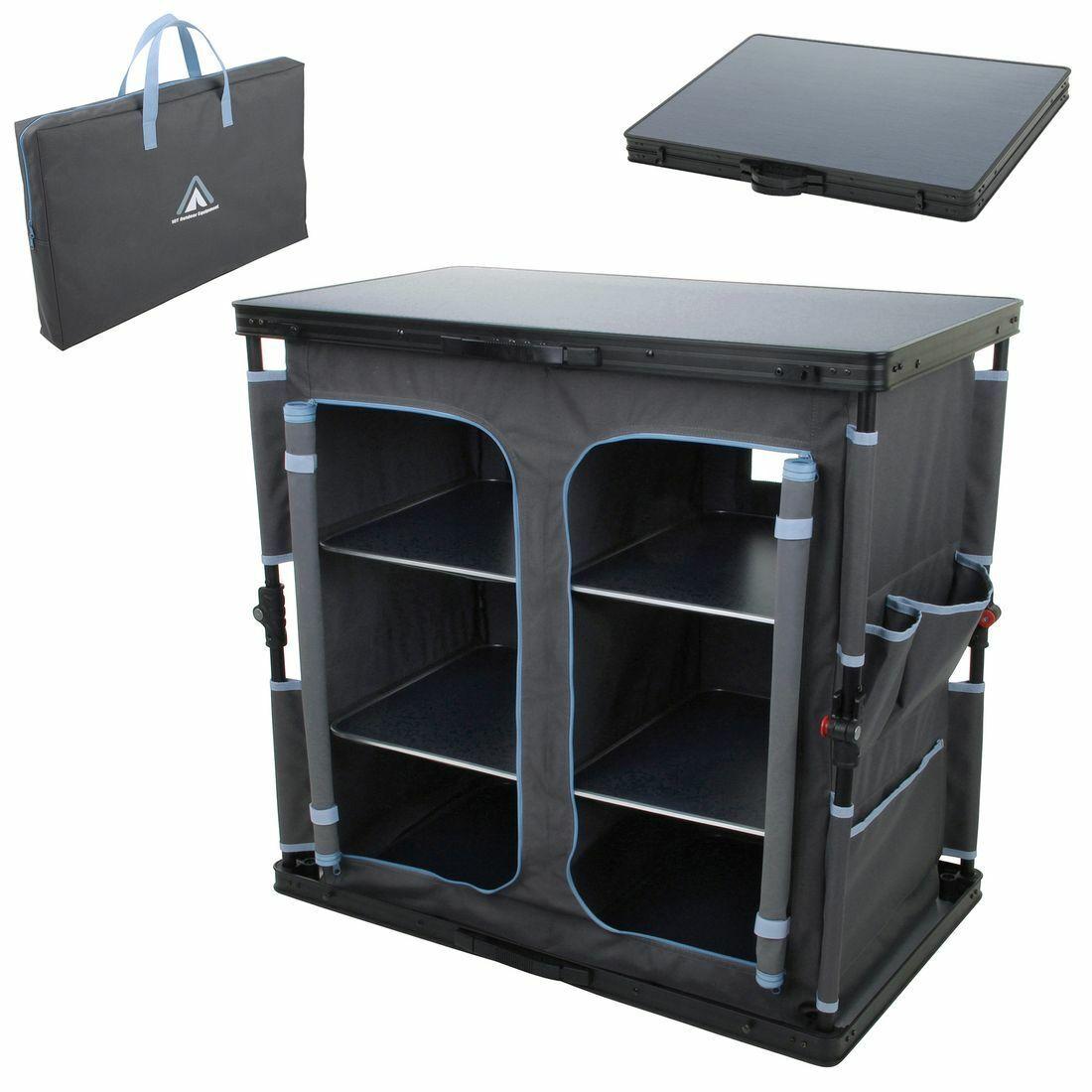 Camping-Schrank Flapbox 6 Fächer Campingküche Kofferschrank mit Faltmechanismus