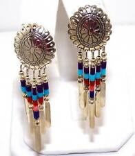 Native American Handmade Multi Colored Bead Dangle Chandelier Concho Earrings
