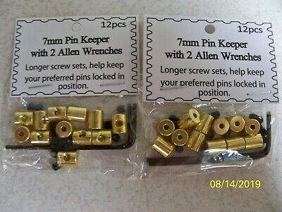 NEW Longer 7mm Brass Pin Keepers Locks 12 Pin Backs With 2 Wrenches