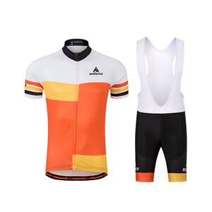 Men s Orange Cycling Jersey Coolmax Bib Shorts Biking Clothing Wear ... dce75c610