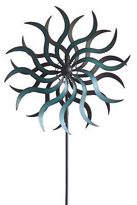 Windrad 190x56 cm Welle türkis Gartenstecker Windspiel Gartendeko Blumenstecker