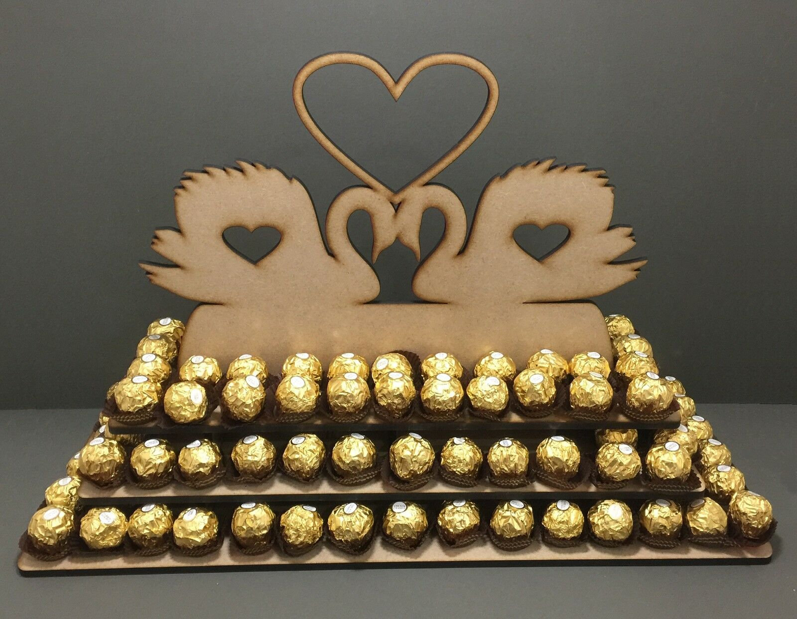 Y22 150x Chocolate Pyramid Ferrero Rocher Wedding Centre Display Stand Mr & Mrs