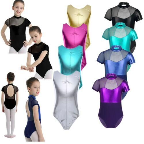 Enfants Filles Métallique Gymnastique Ballet Danse Justaucorps vernies en cuir Short