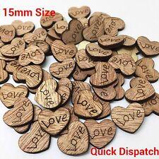 100pz 15mm In Legno Mini Amore Cuore legno Scarpebook Matrimonio Decorazione UK