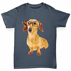 Twisted-Envy-Boy-039-s-Doxie-teckel-Hipster-Chien-Drole-T-shirt-en-coton