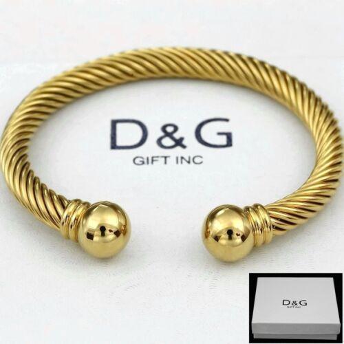 "DG Men/'s Stainless Steel Gold 7/""Adjustable Round Cuff Cable.Bracelet Unisex*Box"