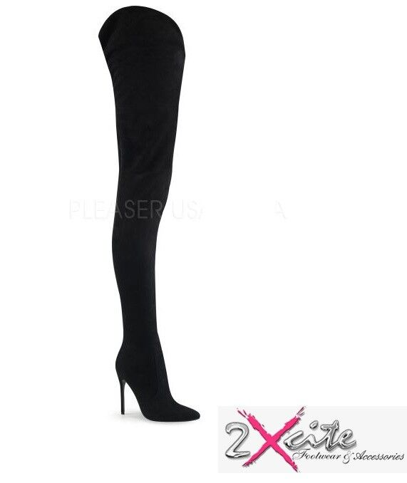 PLEASER COURTLY 4017 CredCH BOOTS 5  STILETTO HEEL POINTED TOE FAUX SUEDE