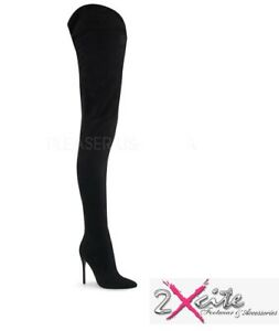 PLEASER-COURTLY-4017-CROTCH-BOOTS-5-034-STILETTO-HEEL-POINTED-TOE-FAUX-SUEDE