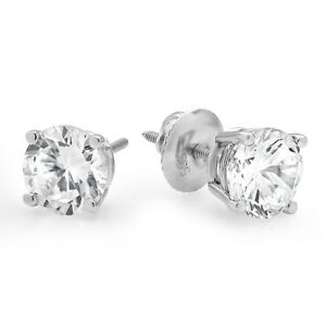 4-0-ct-Brilliant-Round-Cut-Screw-Back-Earring-Studs-Real-Solid-14K-White-Gold