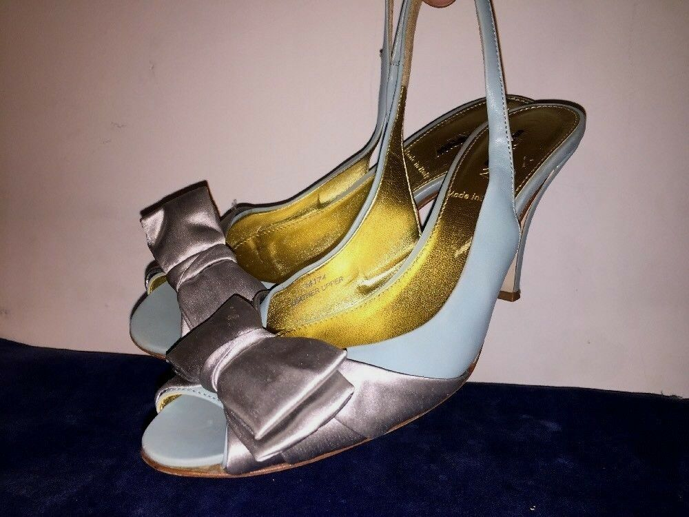 J CREW Leather Silber Teal Blau AUGUSTA Slingbacks High Heels damen schuhe Sz 8