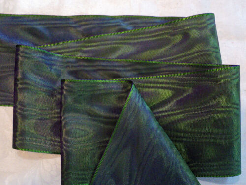 """PLUM RAYON 4/"""" WIDE GERMAN MOIRE RIBBON FOREST GREEN"""