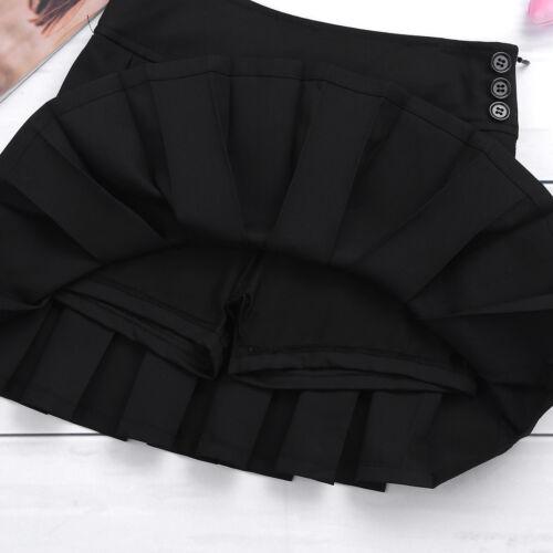 Kids Girls School Uniform Jumper Dress Pinafore Pleated Hem Skater Skorts Skirt