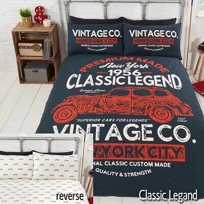 Auto D'epoca Vintage Americano New York Reversibile Piumone Set Di Biancheria Da Letto Con Copripiumone Disponibile In- I Colori Stanno Colpendo