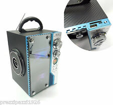 RADIO CASSA SPEAKER RICARICABILE USB SD AUX PER IPOD- PC SMARTPHONE LUCI LED MP3