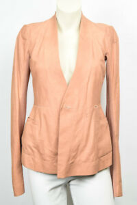 Rick-Owens-Hollywood-peach-pink-4-S-leather-double-breast-coat-jacket-NEW-2195