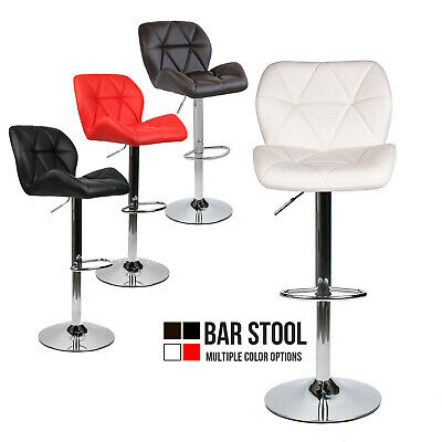 Adjustable Round PU Leather Swivel Chair Seat Bistro Bar Pub Stool Dining Chair