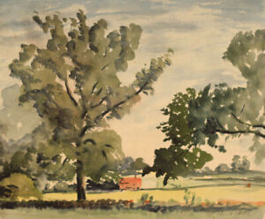 Frank-Fidler-Country-Hedgerow-Original-mid-20th-century-watercolour-painting
