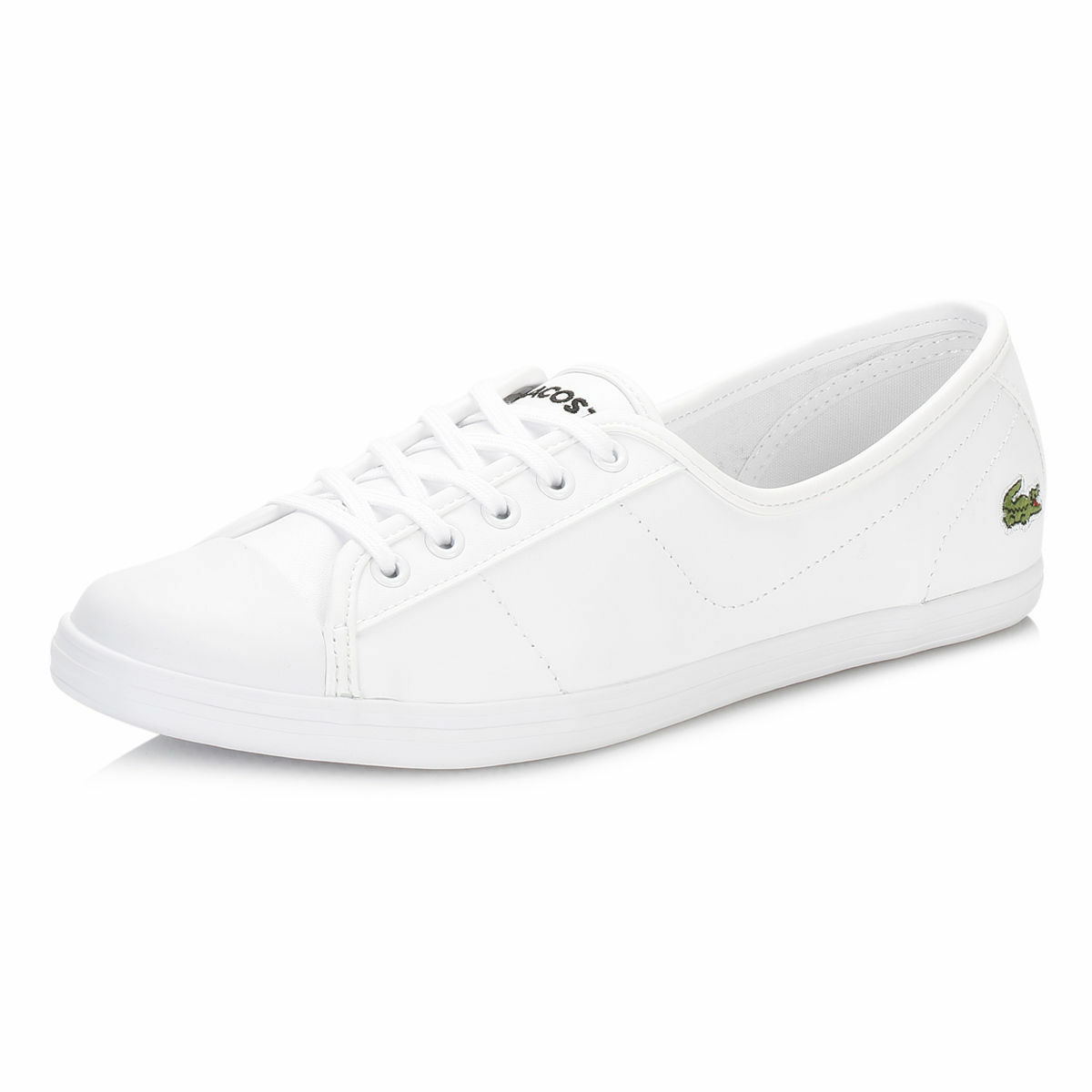 Lacoste Ziane BL Cuir Baskets Taille UK 7 NEW BOXED UE 40.5 Blanc Escarpins Femmes