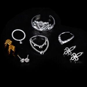 10xPuppe-Kunststoff-Silber-Krone-Halskette-Armbaender-Headwear-fuer-Doll-W-EV