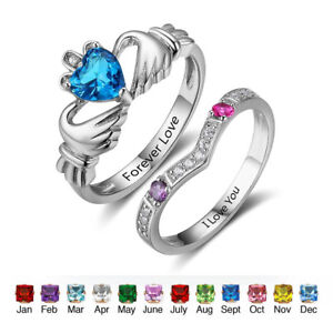 Image Is Loading Personalized Claddagh Promise Ring Set For Her Birthstone