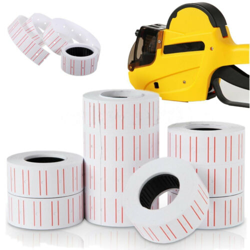 10 Rolls Price Label Paper Tag Sticker MX-5500 Labeller Gun White Red Line  P&C