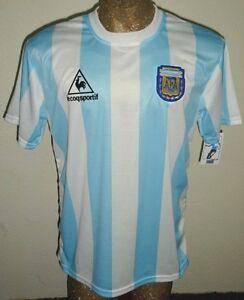 3d76bc6def9 RETRO VINTAGE ARGENTINA WORLD CUP 1986 MARADONA #10 SOCCER JERSEY ...