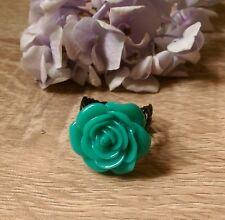 Jade green rose flower ring burlesque goth adjustable statement filigree