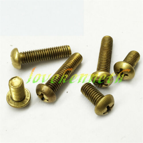 10pcs M4 Brass Round Pan Head Phillips Cross Recessed Copper Screw Bolt