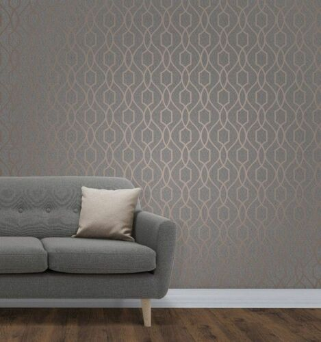 Fine Decor Apex Geometric Metallic Wallpaper Trellis FD41998