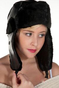 Adults-Unisex-Black-Leather-Look-Winter-Warm-Russian-Aviator-Trapper-Hat-Ski-Cap