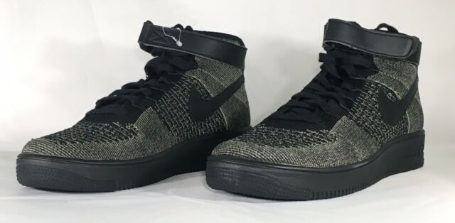 new product 724ba 75da2 Nike Air Force 1 Af1 Ultra Flyknit Mid Sz 9.5 Palm Green Black 817420 301