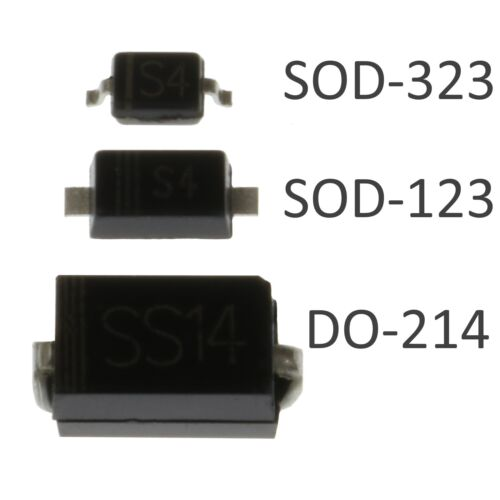 SOD-123 SOD-323 1N5819 SMD Schottky Diodes 3 Sizes DO-214
