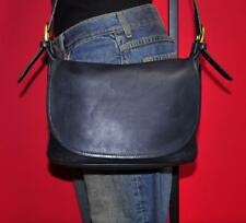 Vtg COACH FLETCHER Navy Blue Leather Saddle Messenger Cross Body Flap Bag USA