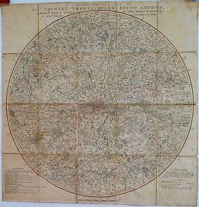 Antique-maps-Topographical-map-twenty-miles-round-London-Faden-1800