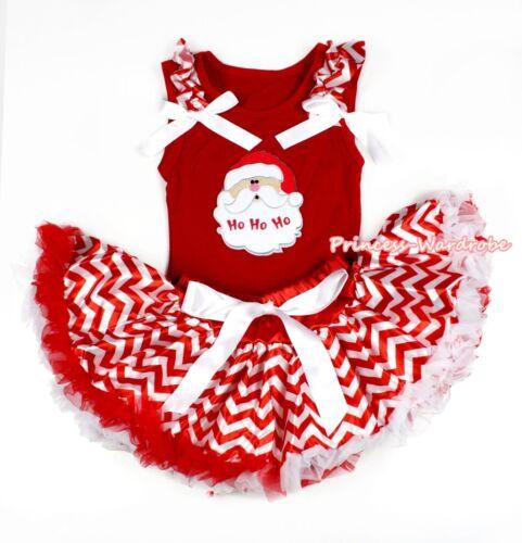 XMAS Santa Claus Head Red Tank Top Red White Wave Stripe Baby Girl Skirt 3-12M