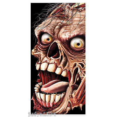 ZOMBIE DOOR COVER HALLOWEEN HORROR PARTY HANGING DECORATIONS POSTER  SKELETON