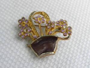 Flower-Basket-Pin-Brooch-Purple-Rhinestones-Enamel-Gold-Tone-Metal-Garden-Plant