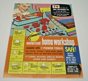 """Kenner's Original 1963 """" Home Work Shop"""" double sided Dealer sales flyer"""