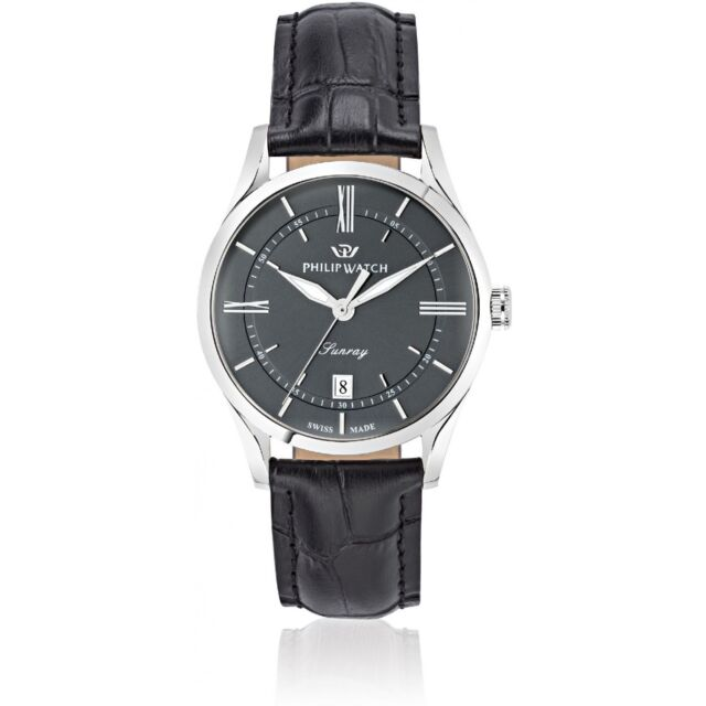 Orologio Philip Watch Sunray R8251180007 uomo pelle NERO watch SWISS classico