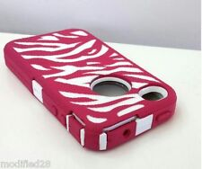 iPhone 4/4S Hybrid Defender Case Zebra Pink/White Build In Screen Protector