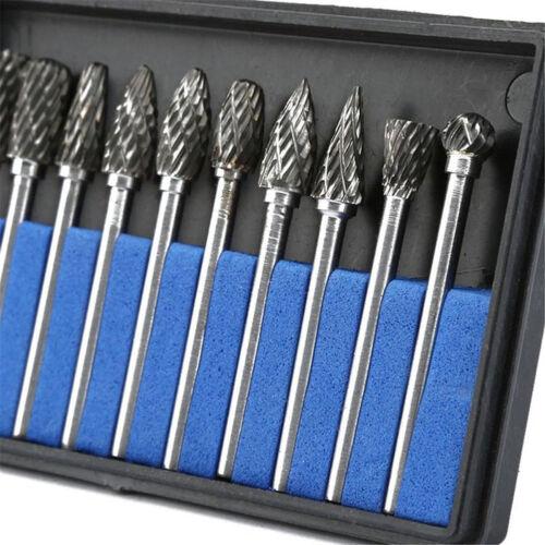 10Pcs Tungsten Carbide Metal Rotary Drill Bits Cutter Files Set 6mm 1//8/'/' Shank