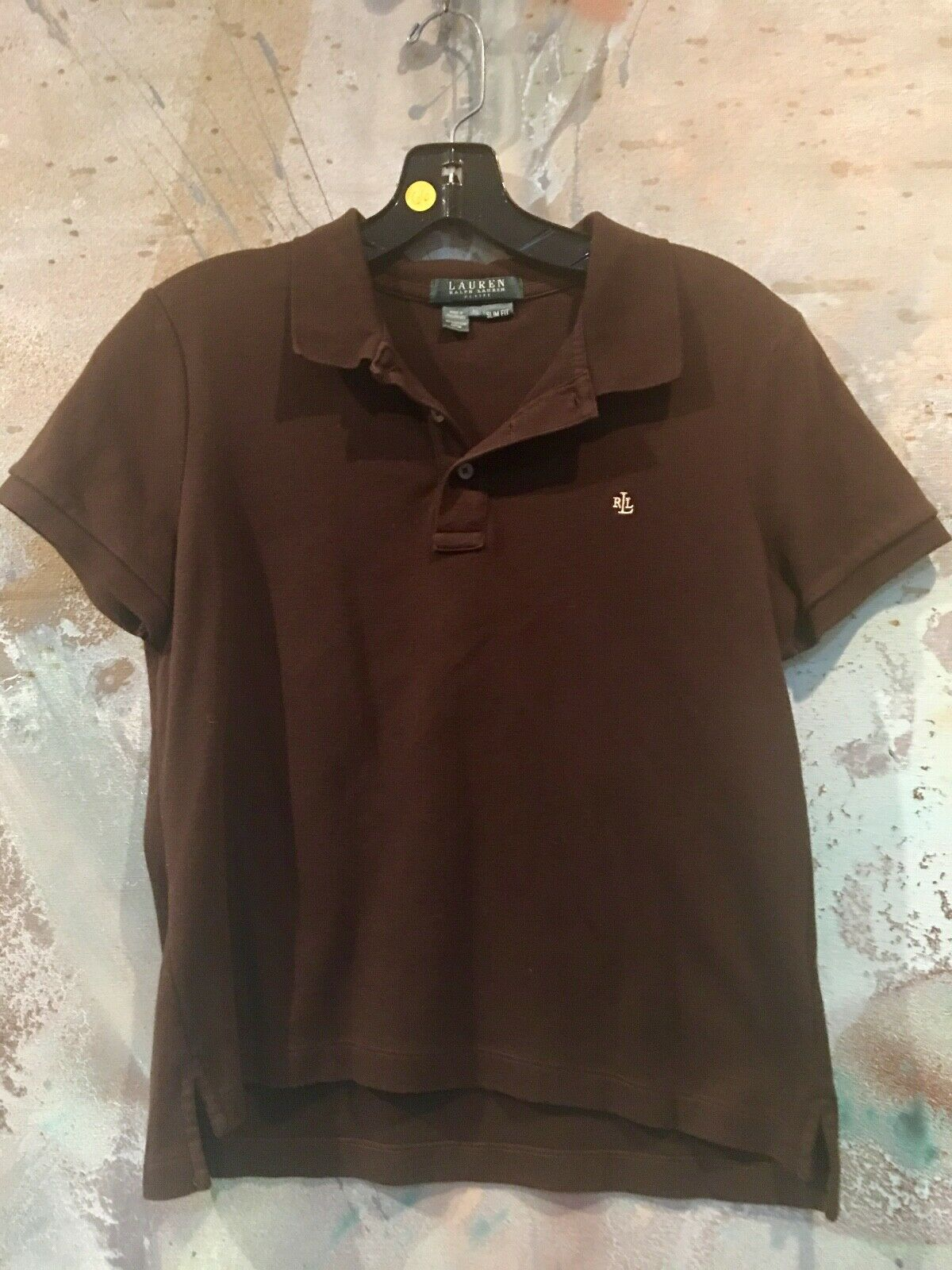 LAUREN RALPH LAUREN Petite braun Polo Shirt Top damen Größe PL EUC Slim Fit