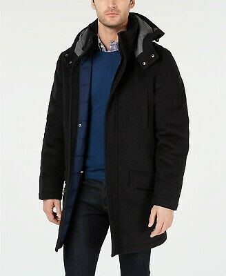 296 Tommy Hilfiger Mens Gray Peacoat, Tommy Hilfiger Peacoat With Hood