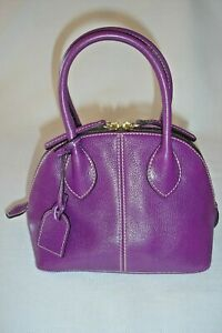 Dooney-amp-Bourke-Baby-Domed-Satchel-Purple-Pebble-Leather-Purse-CB531-PP-XLNT