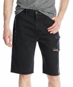 Levi's Men's Cotton Loose Straight Distressed Denim Shorts Black 355690212