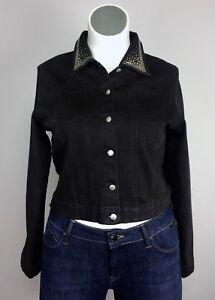 Christine-Alexander-XL-Black-Cotton-Denim-Rhinestone-Silver-Collar-Blazer-Jacket