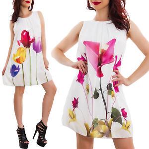 Caricamento dell immagine in corso Vestito-donna-chiffon-velato-fiori- floreale-elegante-mini- 6270dec75bb