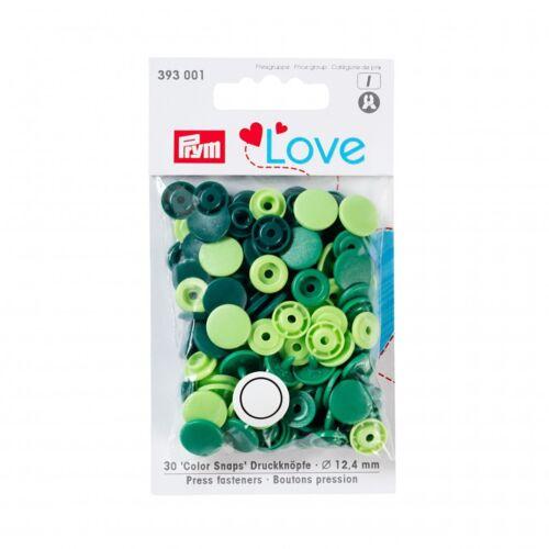 3930... per pack of 30 Prym Love Plastic Round Coloured Snaps Press Fasteners